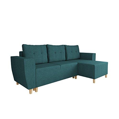Mirjan24  Ecksofa Brema, Sofa, L-Form Couch mit Schlaffunktion und Bettkasten Farbauswahl Eckcouch Ottomane Universal Bettsofa Schlafsofa