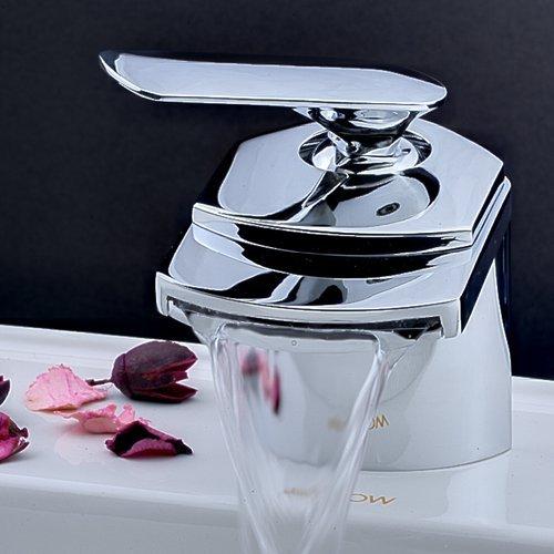 Mischbatterie-Waschtischarmatur-Wasserhahn-Wasserfall-Chrom-Einhebelmischer-fr-Waschbecken-Bad-0