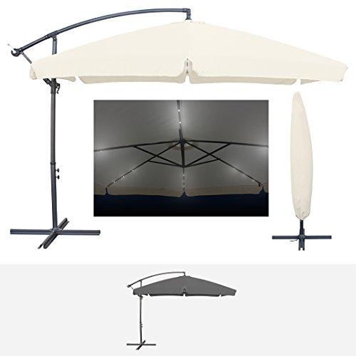 Miweba Aluminium Sonnenschirm Sunny mit Volant & LED Beleuchtung 350cm Durchmesser 50+ UV Schutz Inklusive Schutzhülle Solar Garten Schirm Ampelschirm Marktschirm Kurbelschirm Gartenschirm