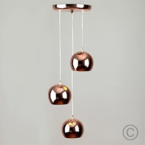 Moderne Deckenleuchte/Pendelleuchte mit 3 hängenden und kuppelförmigen Lampen im Retrostil und kupferfarbigem Finish