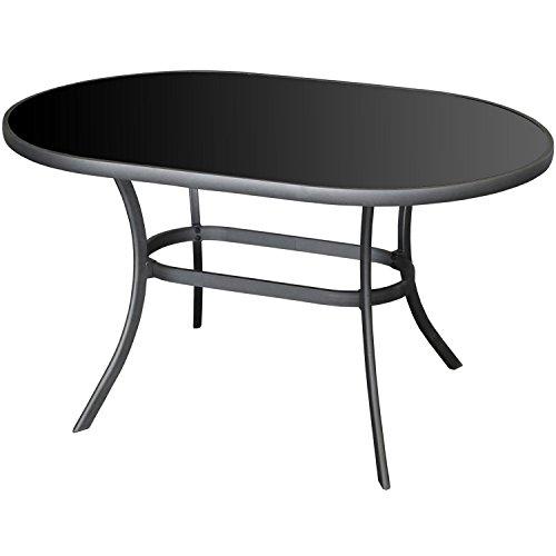 Moderner-Alu-Gartentisch-140x90cm-Glastisch-mit-schwarzer-Tischglasplatte-oval-Terrassentisch-Balkontisch-0