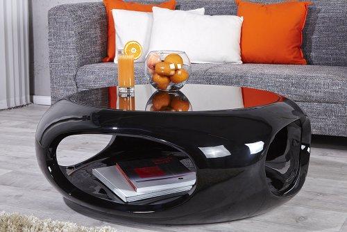 Moderner Design Couchtisch SPIN II 75 cm Hochglanz schwarz Beistelltisch