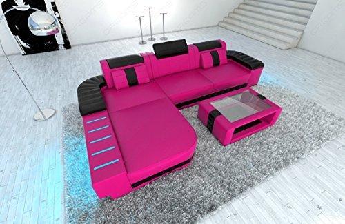 modernes ledersofa bellagio l form pink schwarz m bel24. Black Bedroom Furniture Sets. Home Design Ideas