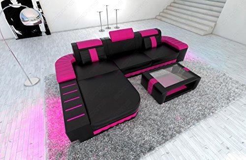 modernes ledersofa bellagio l form schwarz pink m bel24. Black Bedroom Furniture Sets. Home Design Ideas