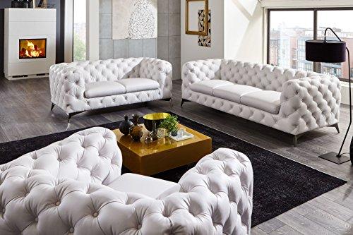 Moebella® Designer Leder Chesterfield Sofagarnitur 3-2-1 Big-Emma weiß Voll-Leder Echtleder Knöpfung Modern Lounge-Möbel Couches