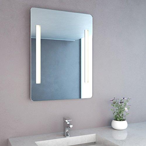 NEG Badspiegel MITRA 80x60cm (HxB) Spiegel (abgerundet) mit integrierter und energiesparender LED-Beleuchtung (warmweiß 3000 Kelvin) IP44
