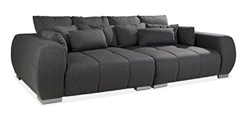 Nicht Zutreffend Big-Sofa XXL-Couch Wohnzimmercouch ELANO | Dunkelgrau | Webstoff | BxHxT: 276x86x145 cm