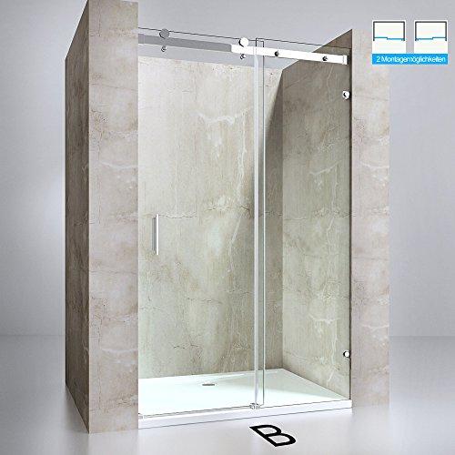 Nischentür Teramo04-2, Schiebetür aus 8mm ESG-Sicherheitsglas in Klarglas mit beidseitiger NANO-Beschichtung, 4-Punktbefestigung, BxH: 125x195cm, Duschabtrennung