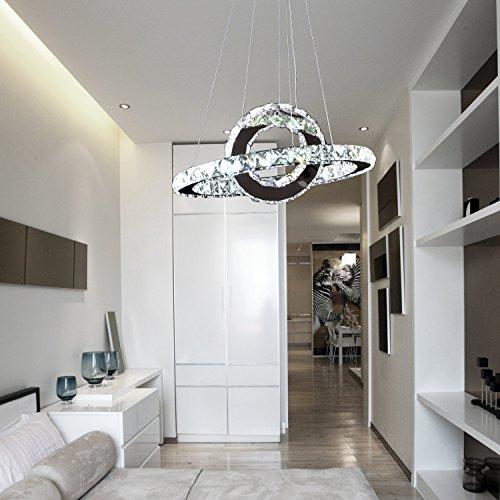 OOFAY LIGHT® LED 36W moderne Kristall-Hängelampe,kunstvolle Kristall-Hängelampe,einfache ringförmige LED-Kristallleuchter fuer Esszimmer,Kristallleuchter fuer Wohnzimmer