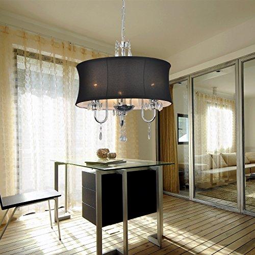OOFAY LIGHT® einfache und graziöse 3 Stücke-Stofftuch-Kristall-Hängelampe Europäische Stofftuch-Hängelampe für Wohnzimmer (schwarz)
