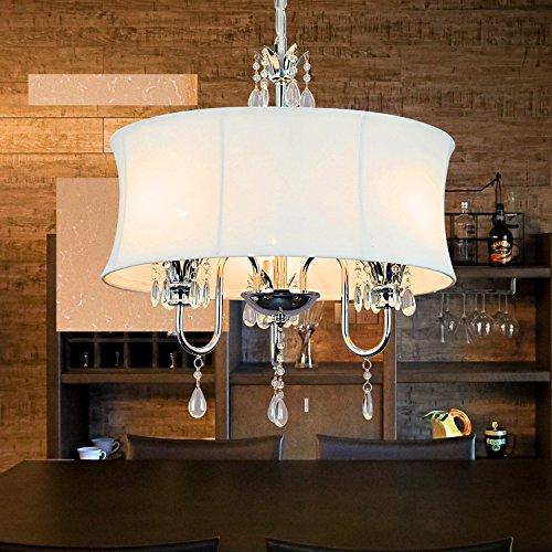 OOFAY LIGHT® einfache und graziöse 3 Stücke-Stofftuch-Kristall-Hängelampe Europäische Stofftuch-Hängelampe für Wohnzimmer (weiss)