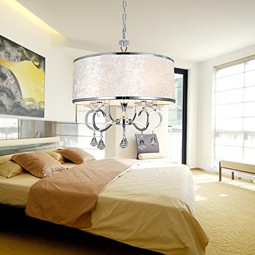 OOFAY LIGHT® einfache und graziöse 6 Stücke-Stofftuch-Kristall-Hängelampe moderne Kristall-Stofftuch-Hängelampe für Wohnzimmer stilvolle Stofftuch-Hängelampe für Schlafzimmer