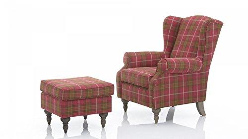 Ohrensessel-und-Hocker-ELIZABETH-Sessel-Polstersessel-pink-karriert-mit-grau-wei-Sitz-Backensessel-Hochlehner-0