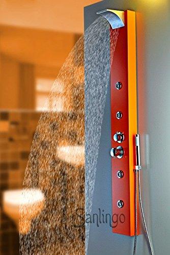 Orange Aluminium Duschpaneel mit Wasserfall und Regendusche Duschsäule von Sanlingo