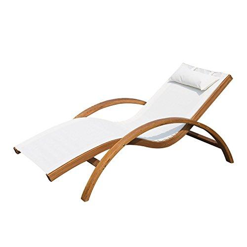 Outsunny® Liegestuhl Sonnenliege Gartenliege Lounge Relaxliege Relaxsessel mit/ohne Schaukelfunktion (Modell 2/Creme)
