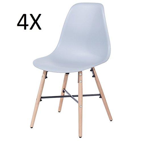 P & N Homewares Enzo Stuhl Retro Inspiriert, Kunststoff Esszimmer Büro Meeting Stuhl Set von 4 grau
