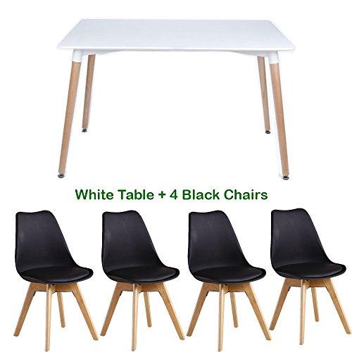 P & N Homewares® Lorenzo Esstisch und 4 Stühle Set Retro und Modern Dining Set Weiß Schwarz und Grau Stühle mit weißen Esstisch skandinavisch