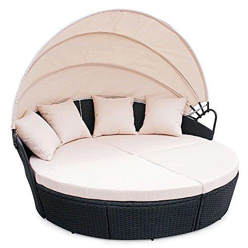 POLY-RATTAN-Sunbed-Lounge-Gartenset-Schwarz-Sofa-Garnitur-Polyrattan-Gartenmbel-Neu-0