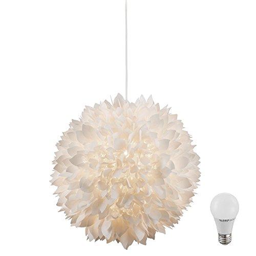 Pendel Decken Lampe Blütenformen Flora Schirm weiß im Set inklusive LED-Leuchtmittel