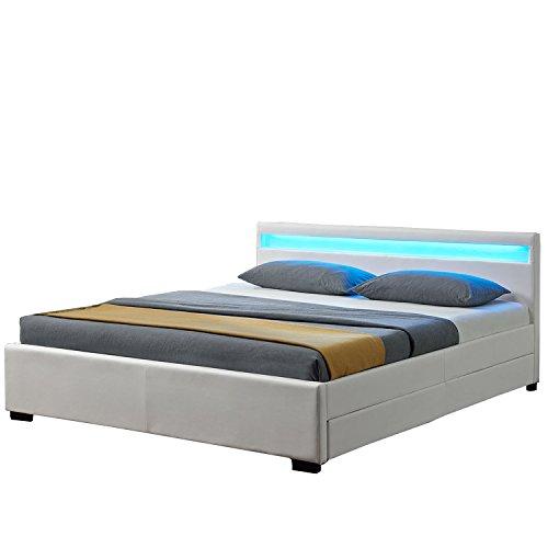 """Polsterbett """"Lyon"""" inklusive Bettkasten - 140 x 200 cm - weiß"""