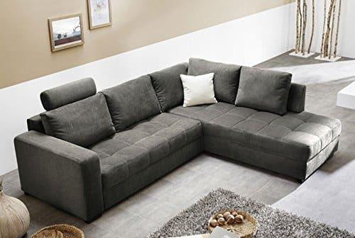 Polsterecke Aurum Mikrofaser grau 267x221cm Bettfunktion Sofa Couch Wohnlandschaft
