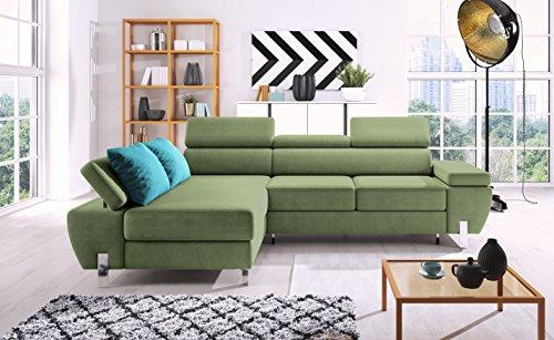 Polsterecke MOLINA Eckcouch Ecksofa Schlafsofa Polstersofa (grün)