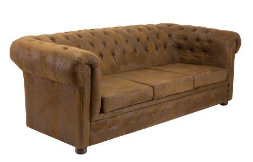 Polstersofa GLOUCHESTER 3-er Sofa Microvelours in Wildlederoptik, Farbe Bezug:Gobi Dunkelbraun