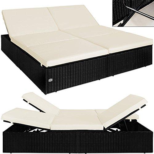 Poly-Rattan-Doppel-Sonnenliege-Liege-Doppelliege-Gartenliege-Relaxliege-Lounge-0