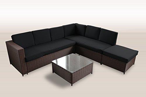 polyrattan lounge 235 221 cm garten m bel incl glas und polster in braun gartenm bel m bel24. Black Bedroom Furniture Sets. Home Design Ideas
