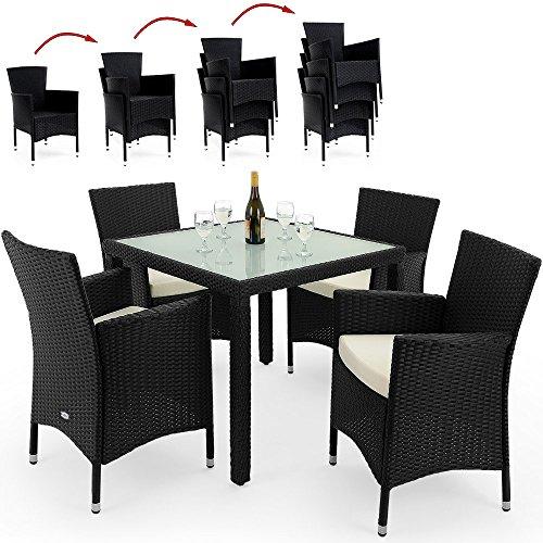 PolyRattan Sitzgruppe 4+1 STAPELBAR Gartenmöbel Lounge Sitzgarnitur Garten Gartenset Essgruppe Rattan