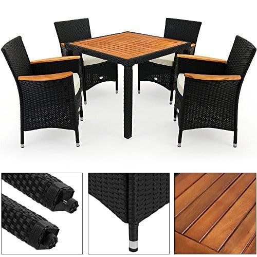 PolyRattan Sitzgruppe Akazienholz Gartenmöbel Lounge Gartenset Essgruppe Sitzgarnitur Poly Rattan MODELLAUSWAHL