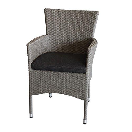 Polyrattan-Sessel-stapelbar-Rattansessel-grau-meliert-inklusive-schwarzen-Sitzkissen-Gartensessel-Stapelstuhl-Gartenstuhl-Rattanstuhl-Rattansessel-Terrassenmbel-Balkonmbel-Gartenmbel-0