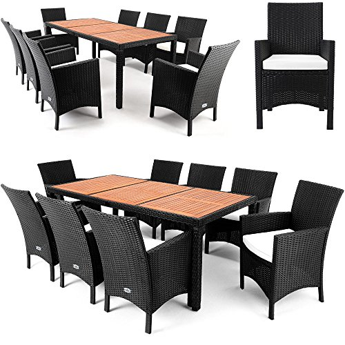 Polyrattan-Sitzgruppe-81-Tischplatte-aus-Akazienholz-Essgruppe-Sitzgarnitur-Gartenmbel-Gartenset-Rattan-0