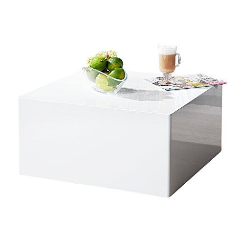 Puristischer Design Couchtisch MONOBLOC 50 cm weiß Hochglanz niedrig und quadratisch
