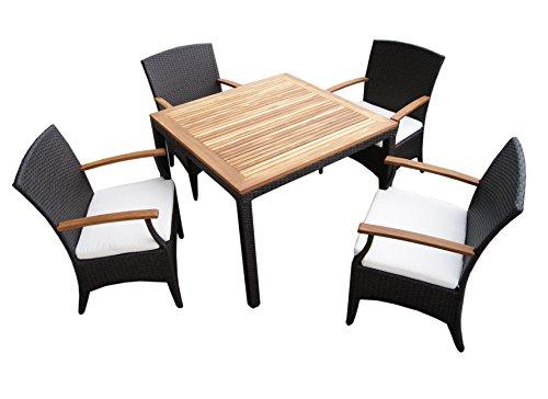 rattan gartenm bel garten tisch set f r 4 personen mit 4 st hlen aus rattan und teakholz. Black Bedroom Furniture Sets. Home Design Ideas