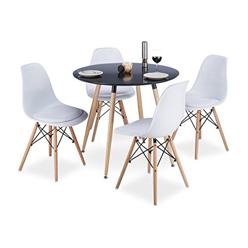 Relaxdays Design Stuhl Retro ARVID, mit Polster, 4er Set, weiß, Esszimmerstuhl, Schale, modern, HxBxT: 82 x 47 x 55 cm, white