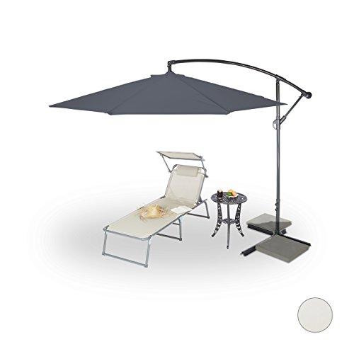 Relaxdays Gartenschirm 3m Durchmesser, Stahlmast 38mm, Stabile Rippen, Polyester, Neigefunktion, Verschiedene Farben