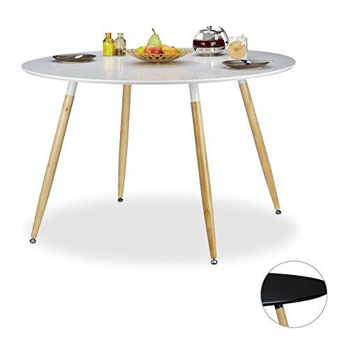 Relaxdays-Runder-Esstisch-ARVID-gro-Holz-HxD-75-x-120-cm-Beine-natur-Gummi-Untersetzer-schwarz-und-wei-0