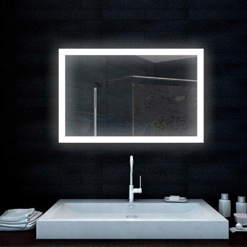 René Bugil Badezimmerspiegel Lichtspiegel mit LED-Lampe - 100x65 cm