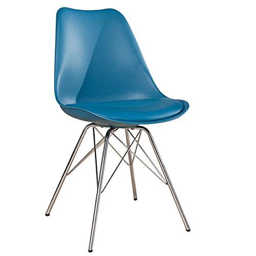 Retro Designklassiker Stuhl SCANDINAVIA MEISTERSTÜCK blau Stuhlbeine aus Chrom