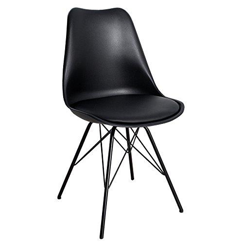 Retro Designklassiker Stuhl SCANDINAVIA MEISTERSTÜCK schwarz mit schwarz lackierten Stuhlbeinen