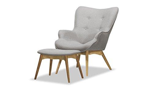 Retro Sessel mit Hocker, Ohrensessel, Eiche Farbe , Vintage - verschiedene Farben
