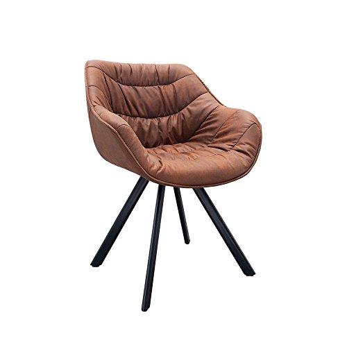 Retro-Stuhl-gepolstert-THE-DUTCH-COMFORT-antik-braun-cognac-Metall-Esszimmer-Sessel-Polsterstuhl-Brosessel-mit-Armlehne-0