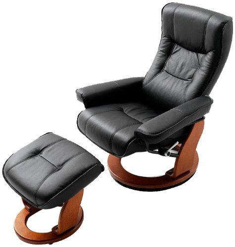 Robas-Lund-64026SH5-Relaxsessel-Hamilton-mit-Hocker-Bezug-Leder-schwarz-Gestell-Honigfarben-83-x-85-110-x-105-cm-0