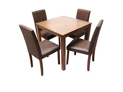 SAM® 5tlg Tischgruppe, Essgruppe Tom, 80 cm, nussbaumfarbig im Antik-Look, aus Massivholz, Sitzgruppe bestehend aus 1 x Esstisch Tom, 4 x Polsterstuhl Billi