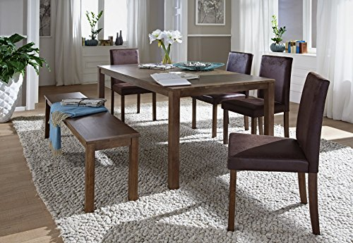SAM-6tlg-Tischgruppe-Essgruppe-Tom-160-cm-nussbaumfarbig-im-Antik-Look-Sitzgruppe-bestehend-aus-1-x-Esstisch-Tom-4-x-Polsterstuhl-Billi-1-x-Sitzbank-Tom-0