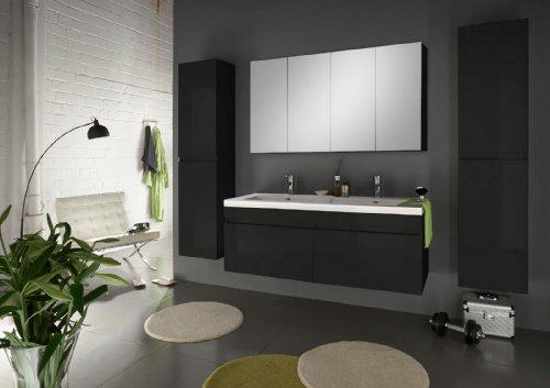 SAM-Badmbel-Set-Parma-Deluxe-Hochglanz-schwarz-4tlg-Designer-Badezimmer-mit-Softclosefunktion-Doppel-Waschplatz-1-Spiegel-und-2-Hochschrnken-0