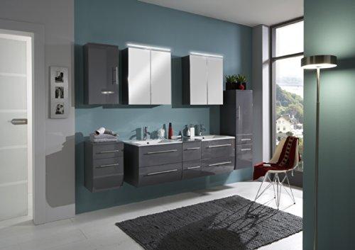 SAM-Badmbel-Set-Zrich-150-cm-Hochglanz-grau-5tlg-Badezimmer-mit-Softclose-Funktion-1-Doppel-Waschplatz-mit-Keramikbecken-2-Spiegelschrnke-1-Hochschrank-1-Unterschrank-1-Hngeschrank-0
