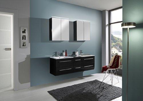 SAM-Badmbel-Set-Zrich-150-cm-Hochglanz-schwarz-2tlg-Badezimmer-mit-Softclose-Funktion-1-Doppel-Waschplatz-mit-Keramikbecken-und-2-Spiegelschrnke-0