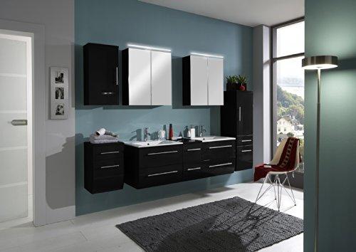 SAM-Badmbel-Set-Zrich-150-cm-Hochglanz-schwarz-5tlg-Badezimmer-mit-Softclose-Funktion-1-Doppel-Waschplatz-mit-Keramikbecken-2-Spiegelschrnke-1-Hochschrank-1-Unterschrank-1-Hngeschrank-0
